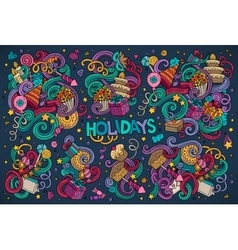 Colorful set of holidays object vector image