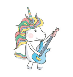 beautiful unicorn play guitar instrument vector image vector image