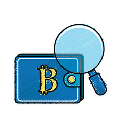 Bitcoin symbon in the wallet with magnifying glass vector