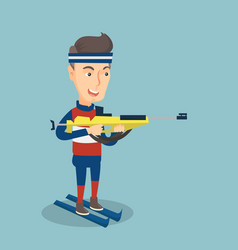 Cheerful biathlon runner aiming at the target vector