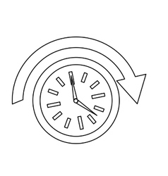 clock with arrow above icon image vector image
