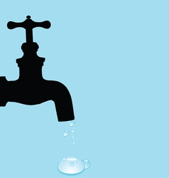 drinking fountain and water droplets vector image