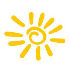 hand drawn sun icon isolated on white background vector image vector image