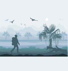 hiker enjoying tropical landscape mountain peaks vector image