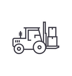 loader truck line icon sign vector image vector image