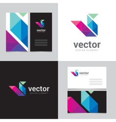 Logo design element with two business cards - 14 vector image vector image