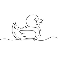 rubber duck continuous line vector image vector image