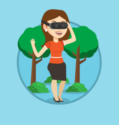 woman wearing virtual reality headset in the park vector image vector image