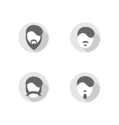 Beard flat design icons vector image