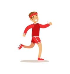 Boy running kid practicing different sports and vector