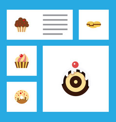 flat cake set of biscuit doughnut sweetmeat and vector image vector image