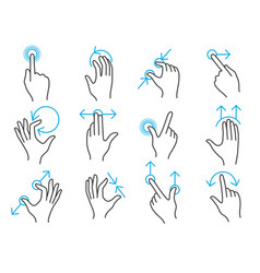 hand touchscreen gestures vector image