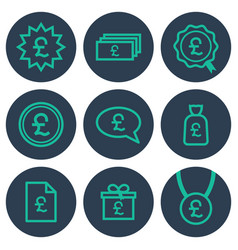 set of icons about money with pound symbols vector image vector image