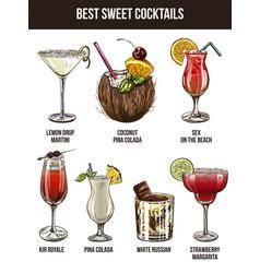 set of seven summer cocktails vector image vector image