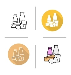 Dairy products icons vector