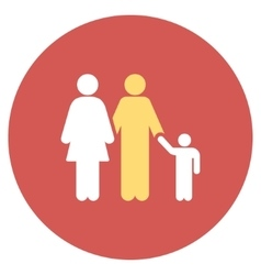 Family Flat Round Icon vector image