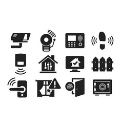 home security icon set 02 vector image