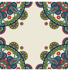 Indian doodle paisley colored frame vector image