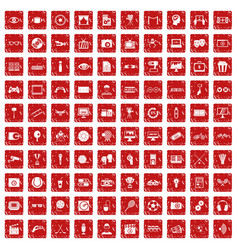 100 video icons set grunge red vector image
