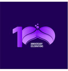 100 years anniversary celebration purple template vector