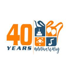 40 year gift box ribbon anniversa vector image