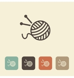 A ball of wool and knitting needles vector