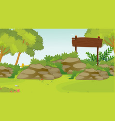 background scene with wooden sign in park vector image