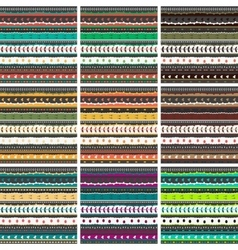 Big pattern set Whimsical embroidery stripes vector image