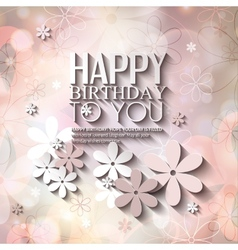 birthday card with flowers on colorful background vector image