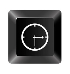Black button clock icon vector