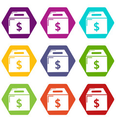 box money icons set 9 vector image