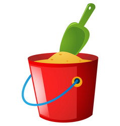 Bucket of sand and green spoon vector