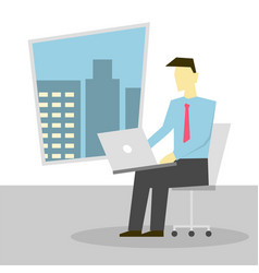 businessman sitting on chair and working on laptop vector image