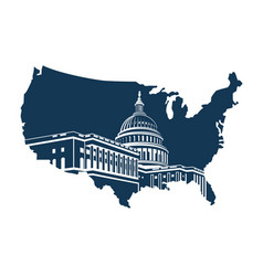 Capitol building on background map vector