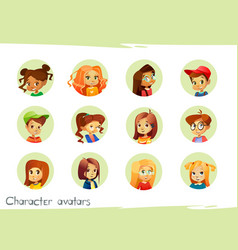 Children characters avatars of vector