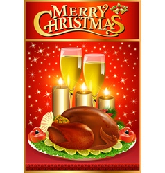 Christmas greeting card with turkey and candles vector