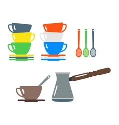Clean cups and coffee dishware vector