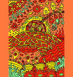 Colorful hippie psychedelic abstract doodle art vector