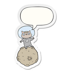 Cute cartoon astronaut cat and speech bubble vector