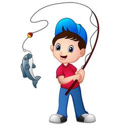 Cute cartoon boy fishing vector