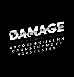 Damaged font design alphabet letters and numbers vector