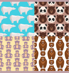 different style bears seamless pattern background vector image