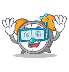 Diving alarm clock character cartoon vector