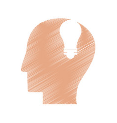 Drawing profile head idea light icon vector