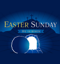 Easter sunday holy week tomb and cross card vector