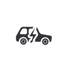 Electric car side view silhouette simple black vector