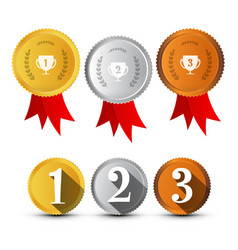 first secon third place medals symbols set gold vector image