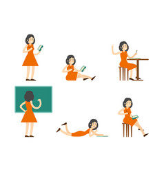flat studying woman set vector image