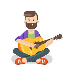Flat style of happy man with guitar vector