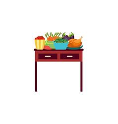 flat vegetables in ceramic pot icon vector image